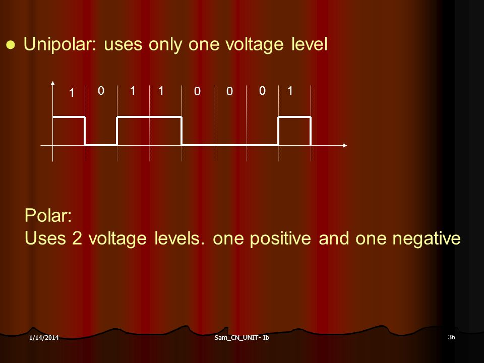 Unipolar: uses only one voltage level