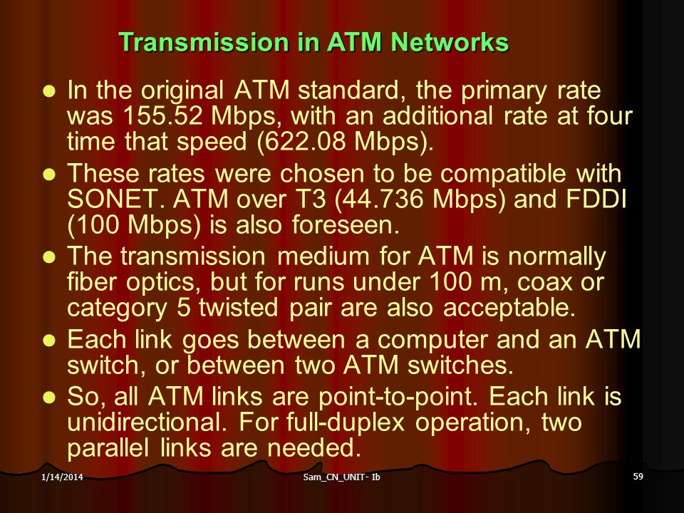 Transmission in ATM Networks