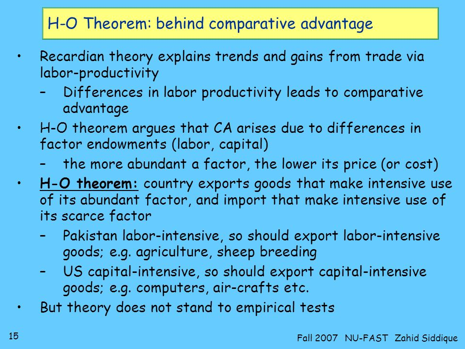 H-O Theorem: behind comparative advantage