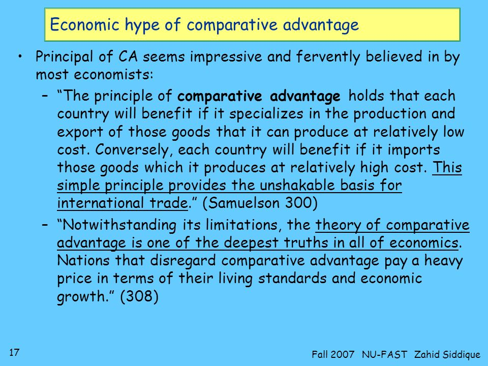 Economic hype of comparative advantage