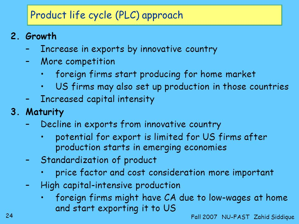 Product life cycle (PLC) approach