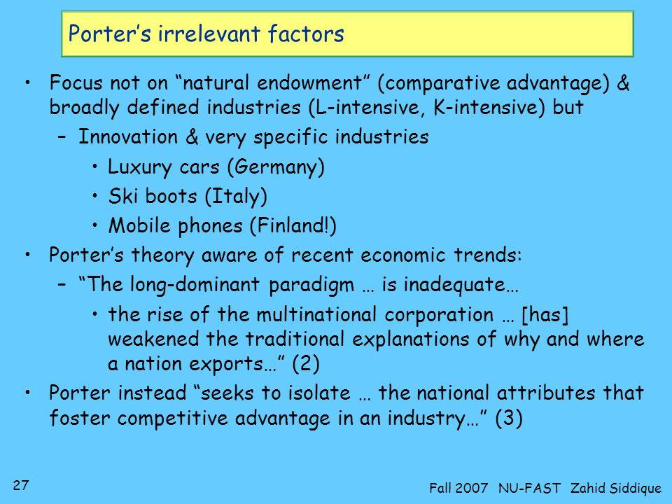 Porter's irrelevant factors