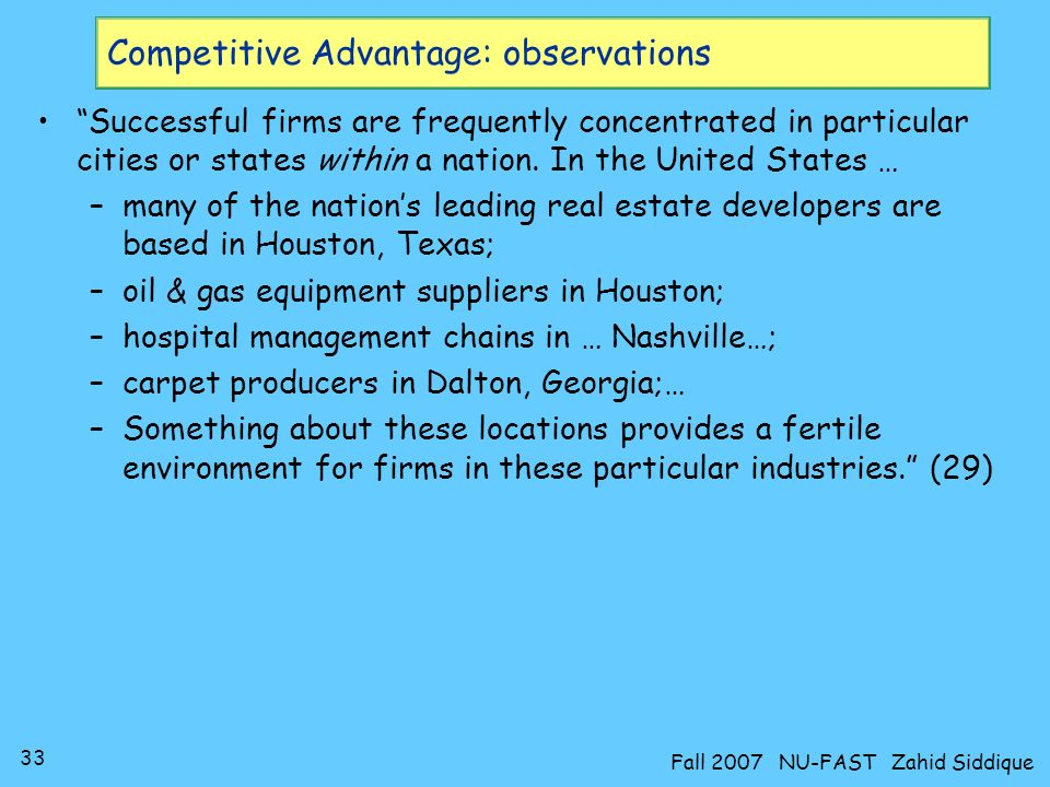 Competitive Advantage: observations