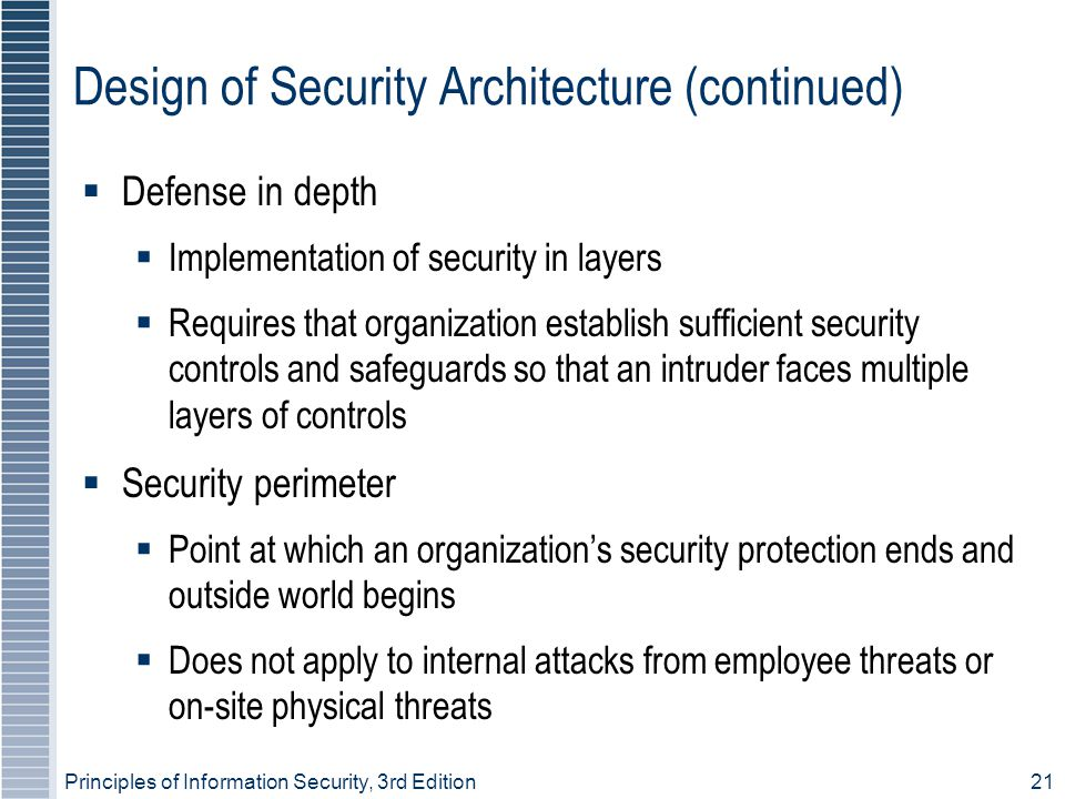 Design of Security Architecture (continued)