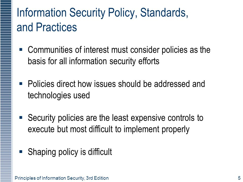 Information Security Policy, Standards, and Practices