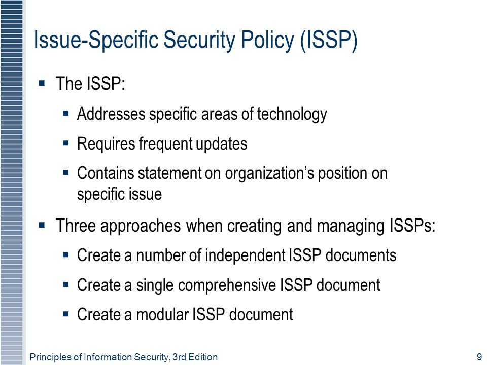 Issue-Specific Security Policy (ISSP)
