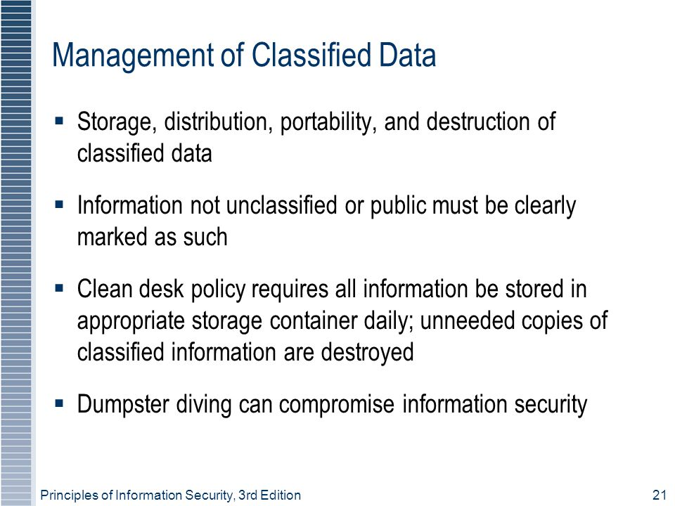 Management of Classified Data