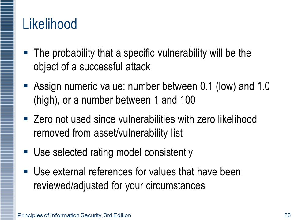 Likelihood The probability that a specific vulnerability will be the object of a successful attack.