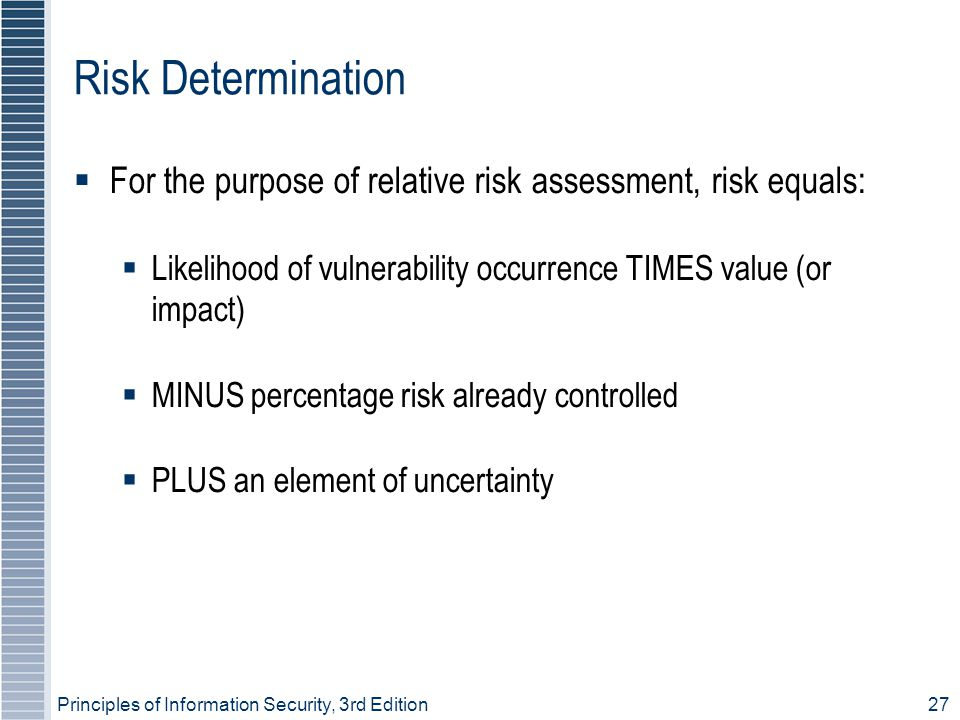 Risk Determination For the purpose of relative risk assessment, risk equals: Likelihood of vulnerability occurrence TIMES value (or impact)‏