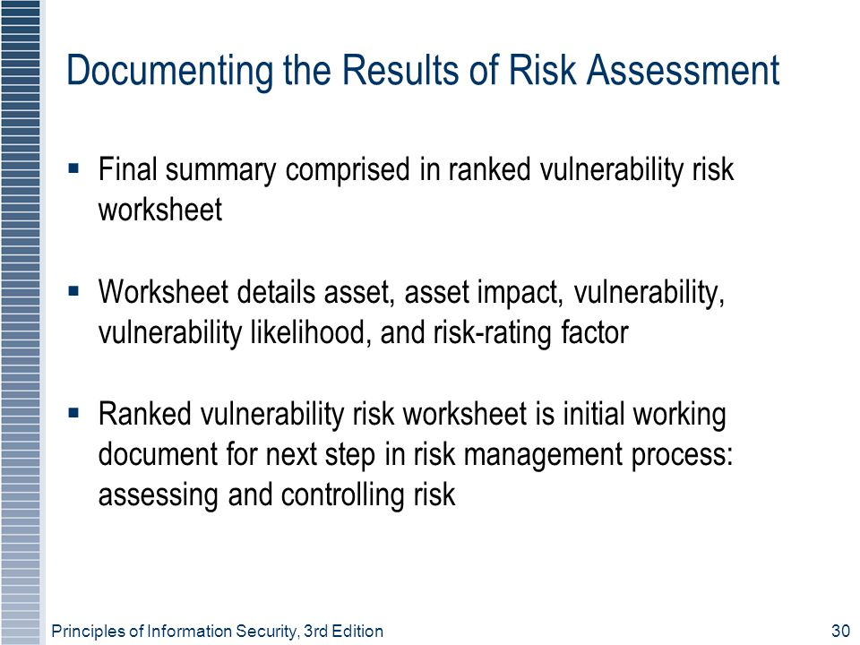 Documenting the Results of Risk Assessment
