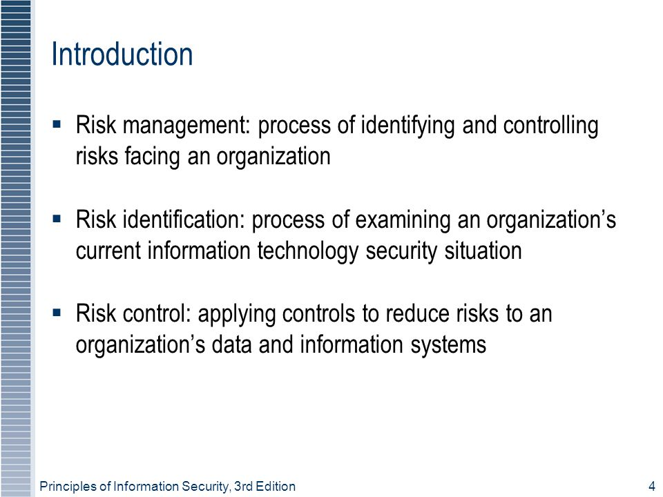 Introduction Risk management: process of identifying and controlling risks facing an organization.