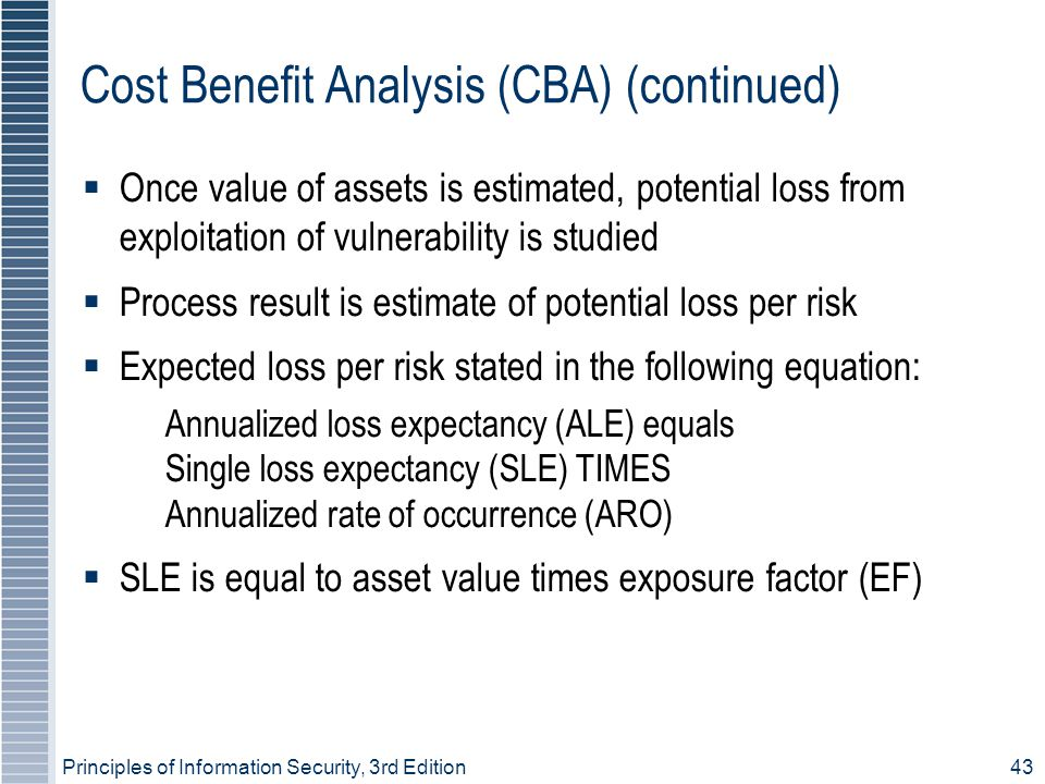 Cost Benefit Analysis (CBA) (continued)‏