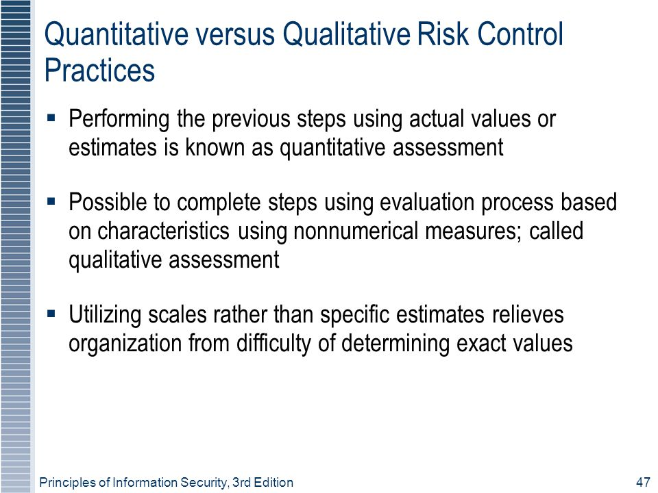 Quantitative versus Qualitative Risk Control Practices