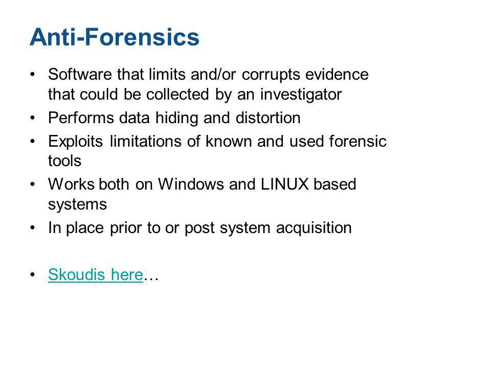 Anti-Forensics Software that limits and/or corrupts evidence that could be collected by an investigator.