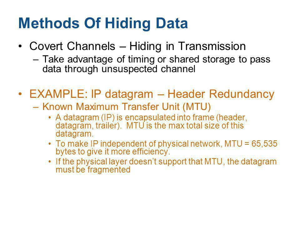Methods Of Hiding Data Covert Channels – Hiding in Transmission