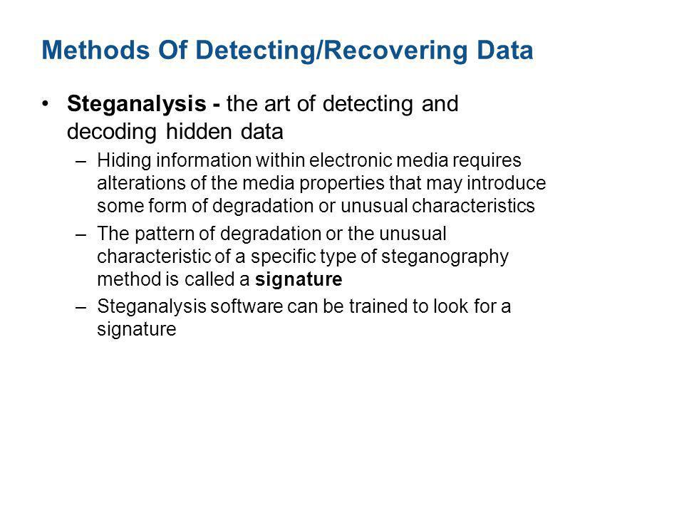 Methods Of Detecting/Recovering Data
