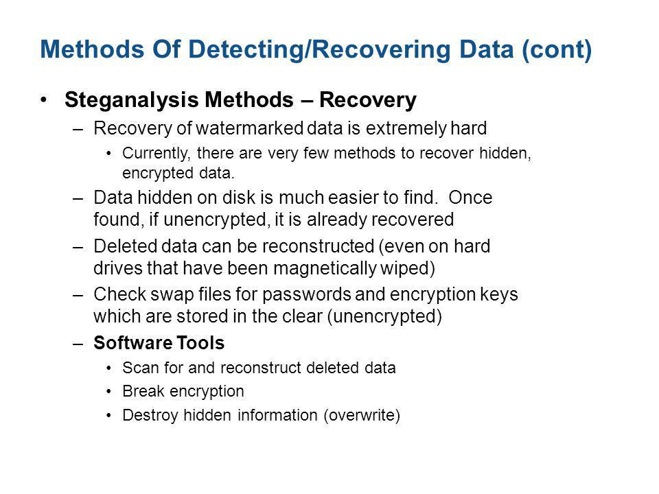 Methods Of Detecting/Recovering Data (cont)
