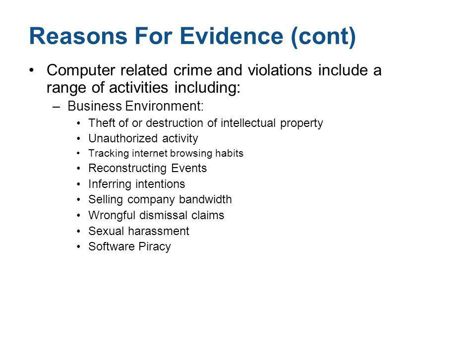 Reasons For Evidence (cont)