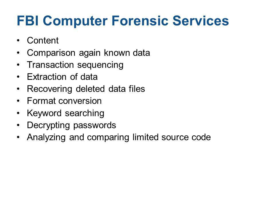 FBI Computer Forensic Services