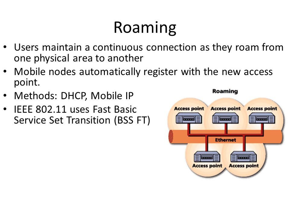 Roaming Users maintain a continuous connection as they roam from one physical area to another.