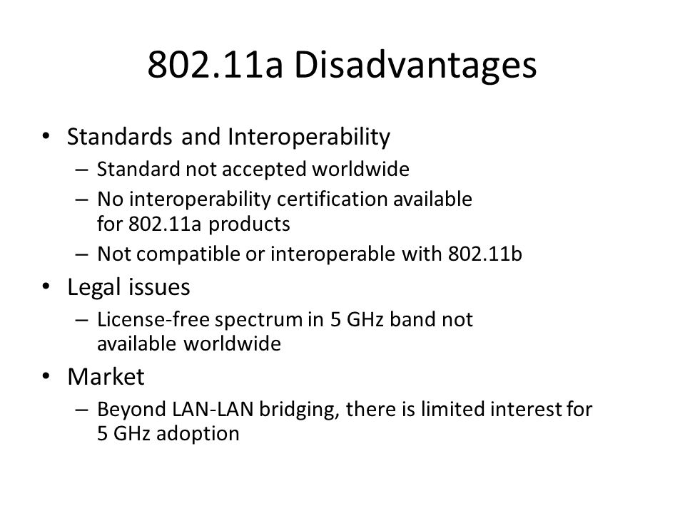 802.11a Disadvantages Standards and Interoperability Legal issues
