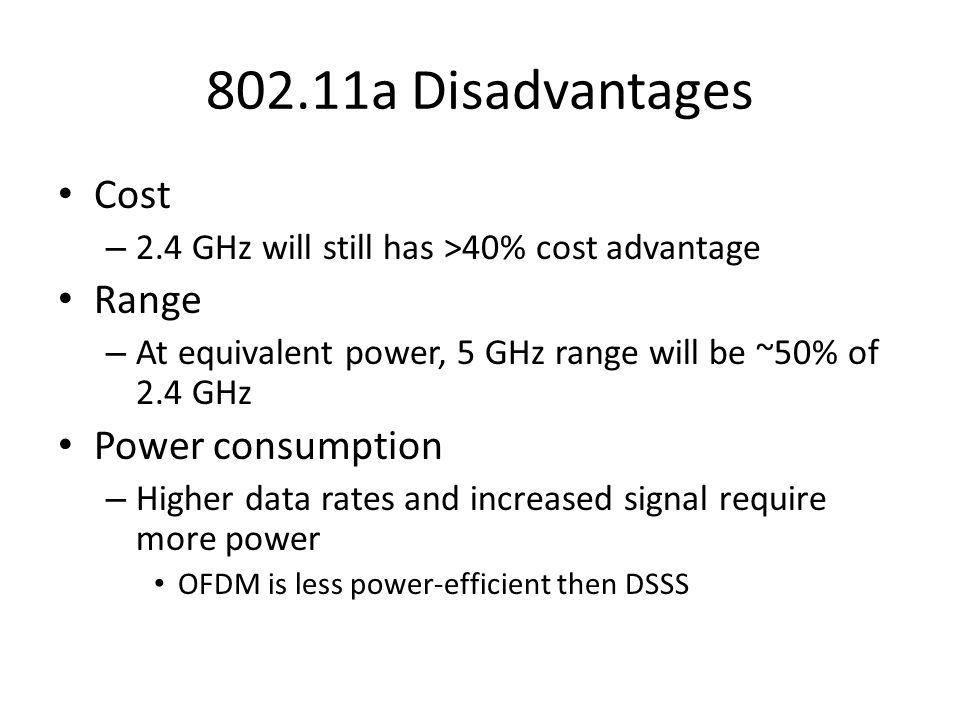 802.11a Disadvantages Cost Range Power consumption