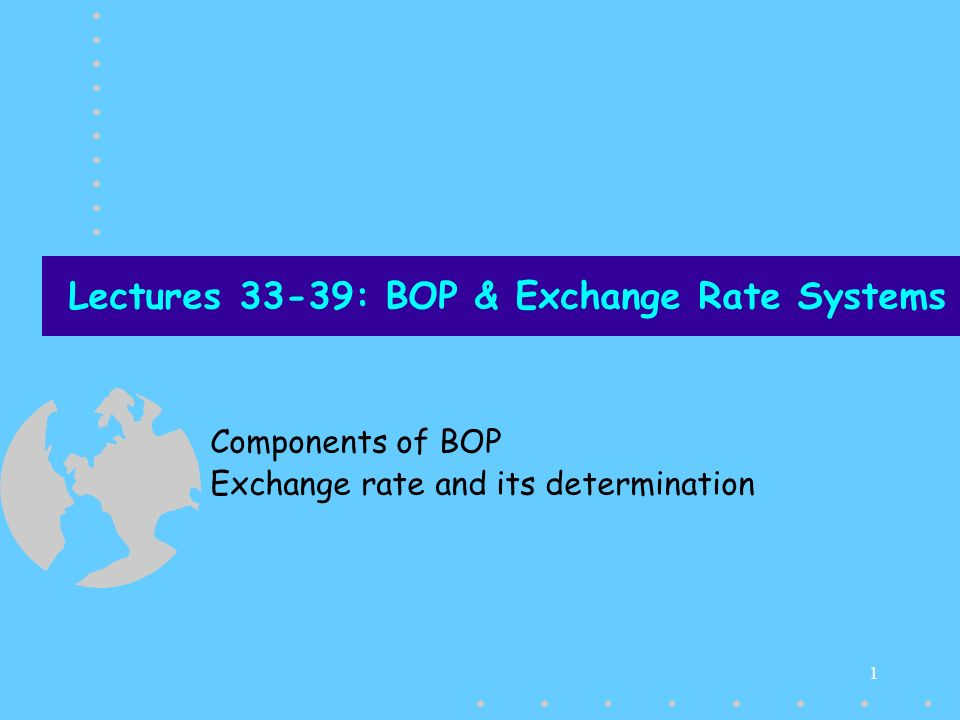Lectures 33-39: BOP & Exchange Rate Systems