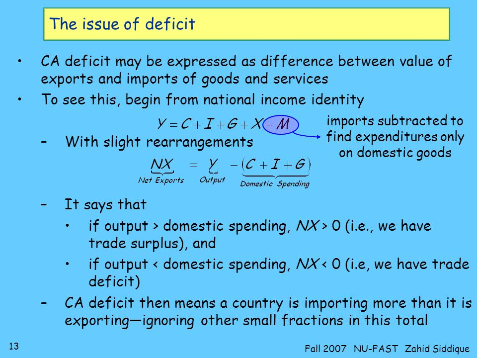 The issue of deficitCA deficit may be expressed as difference between value of exports and imports of goods and services.