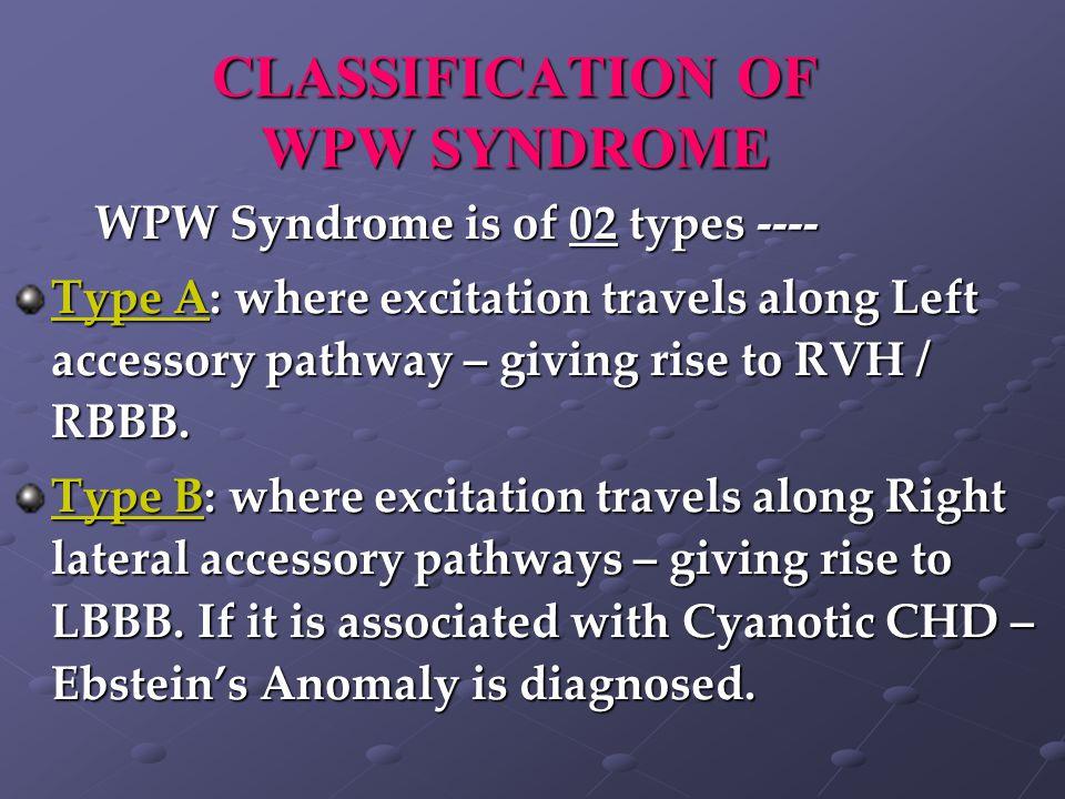 CLASSIFICATION OF WPW SYNDROME