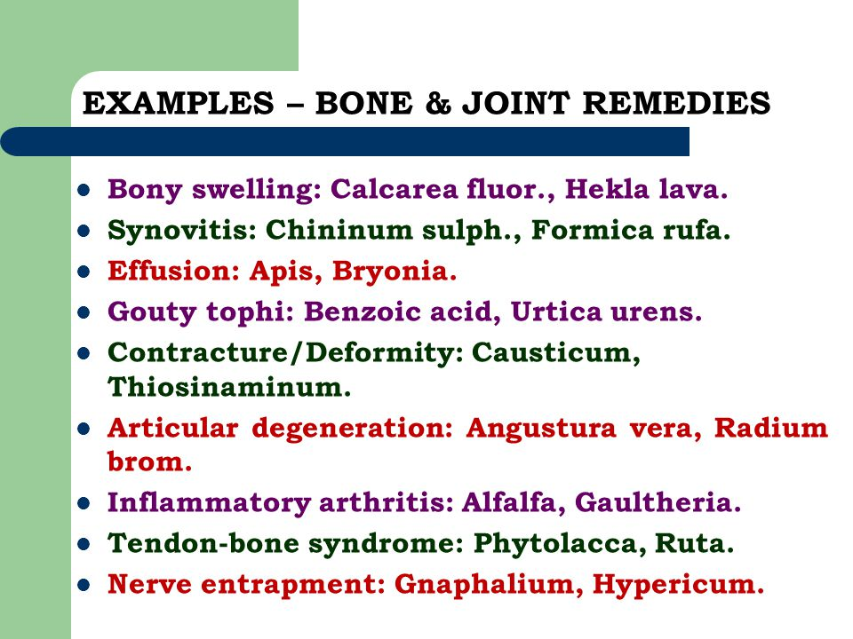 EXAMPLES – BONE & JOINT REMEDIES