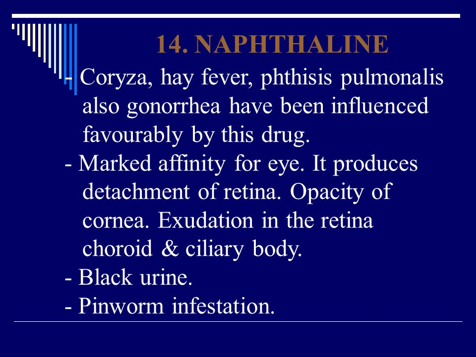 - Coryza, hay fever, phthisis pulmonalis