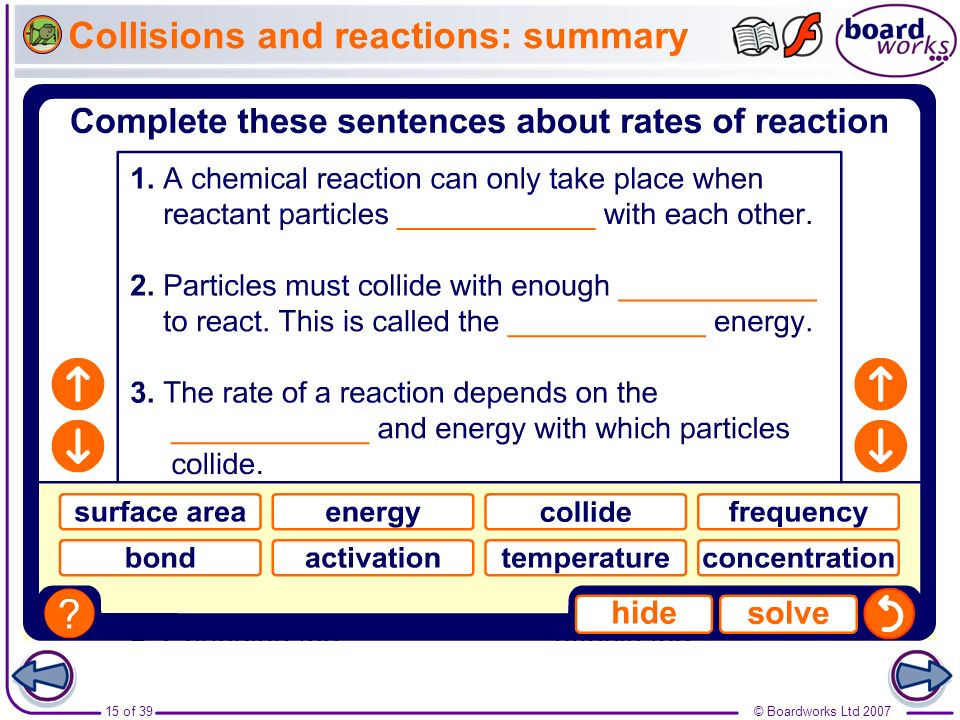 Collisions and reactions: summary