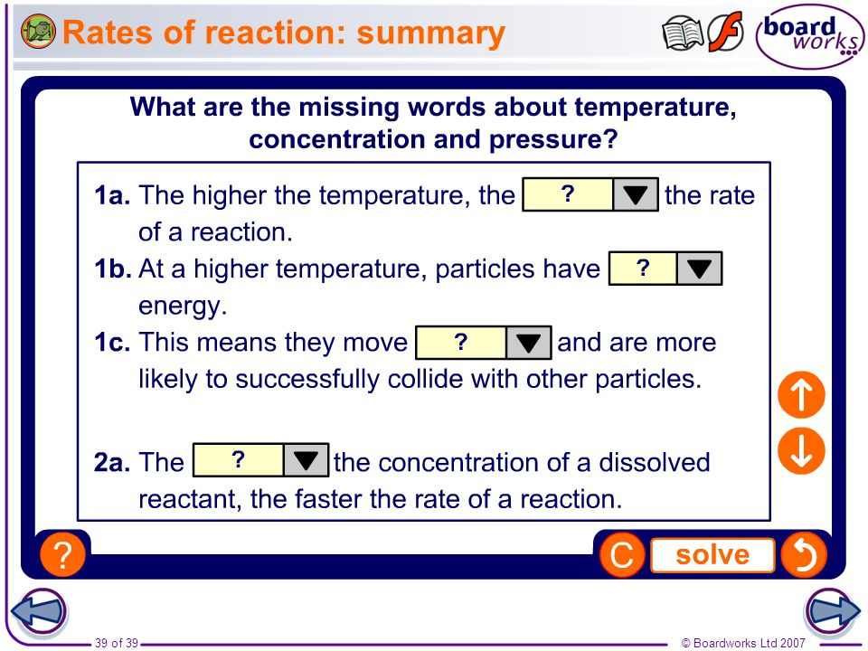 Rates of reaction: summary
