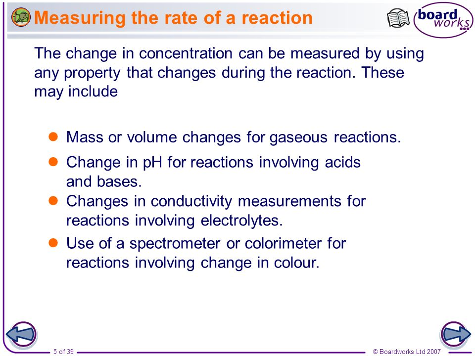 Measuring the rate of a reaction