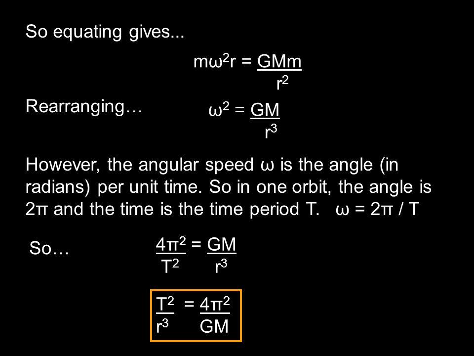 So equating gives...