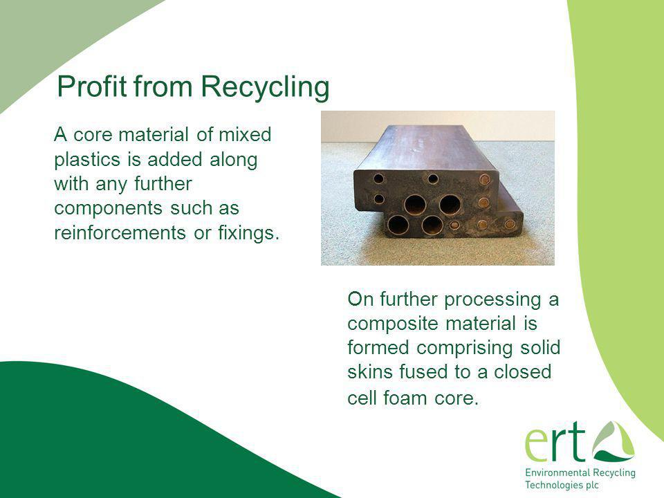 Profit from Recycling A core material of mixed plastics is added along with any further components such as reinforcements or fixings.