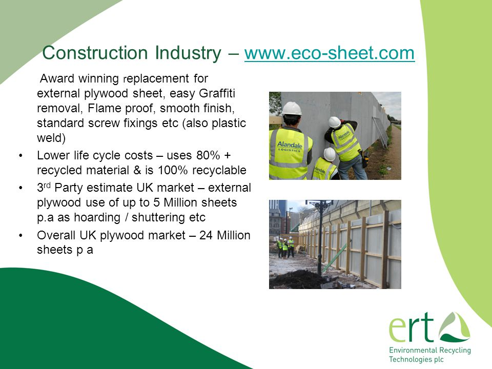 Construction Industry – www.eco-sheet.com