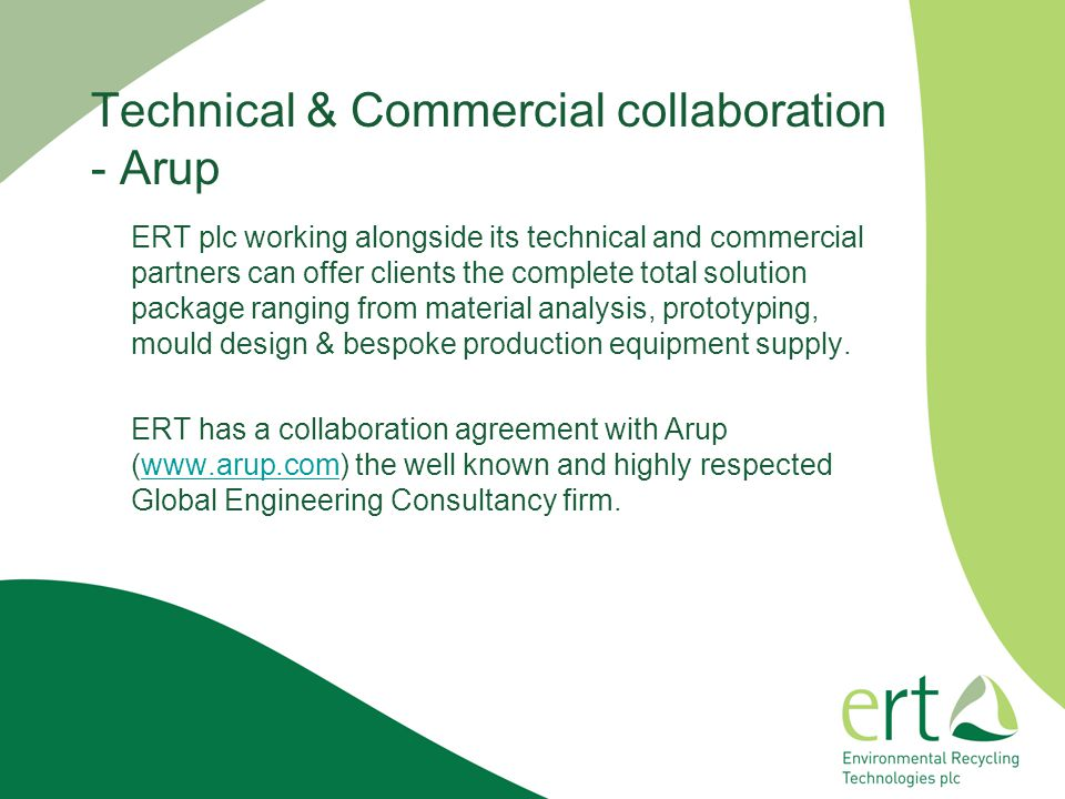 Technical & Commercial collaboration - Arup