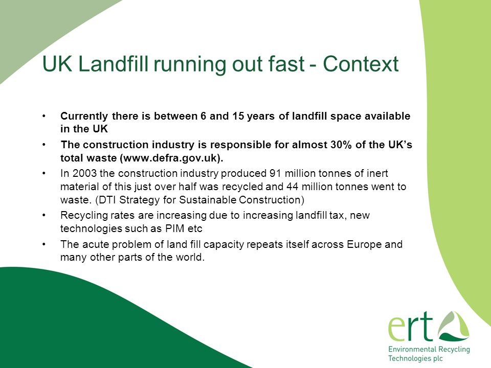 UK Landfill running out fast - Context
