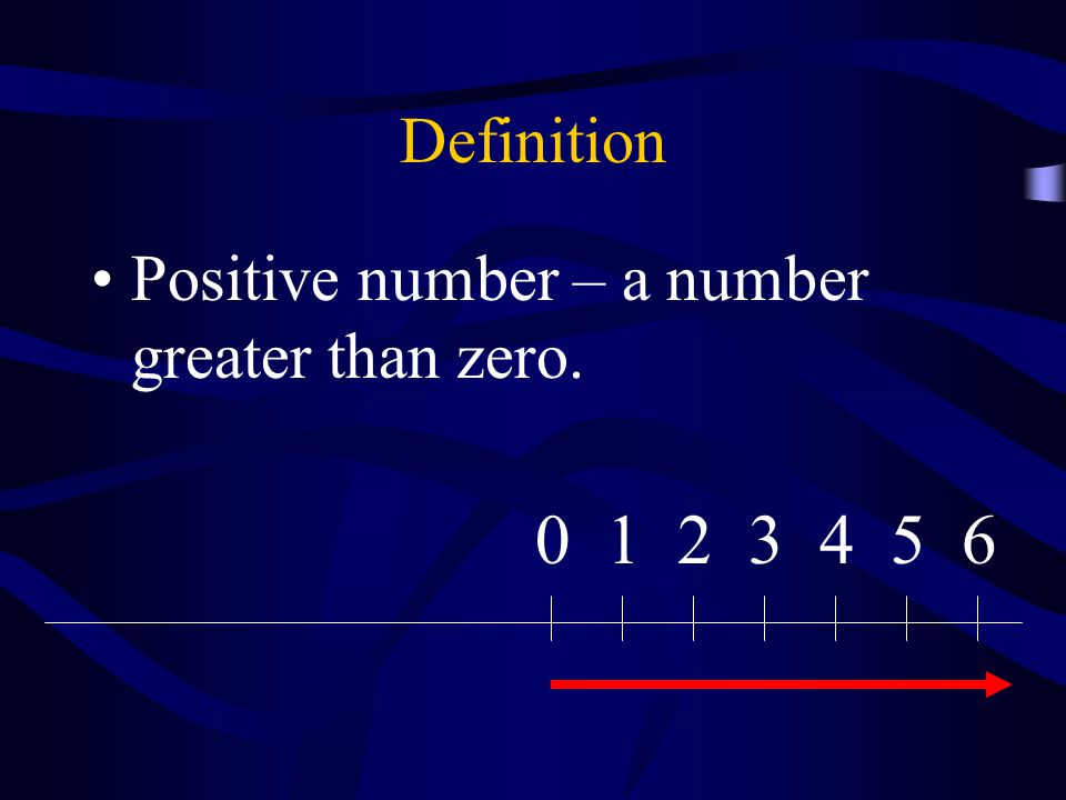 Definition Positive number – a number greater than zero. 1 2 3 4 5 6