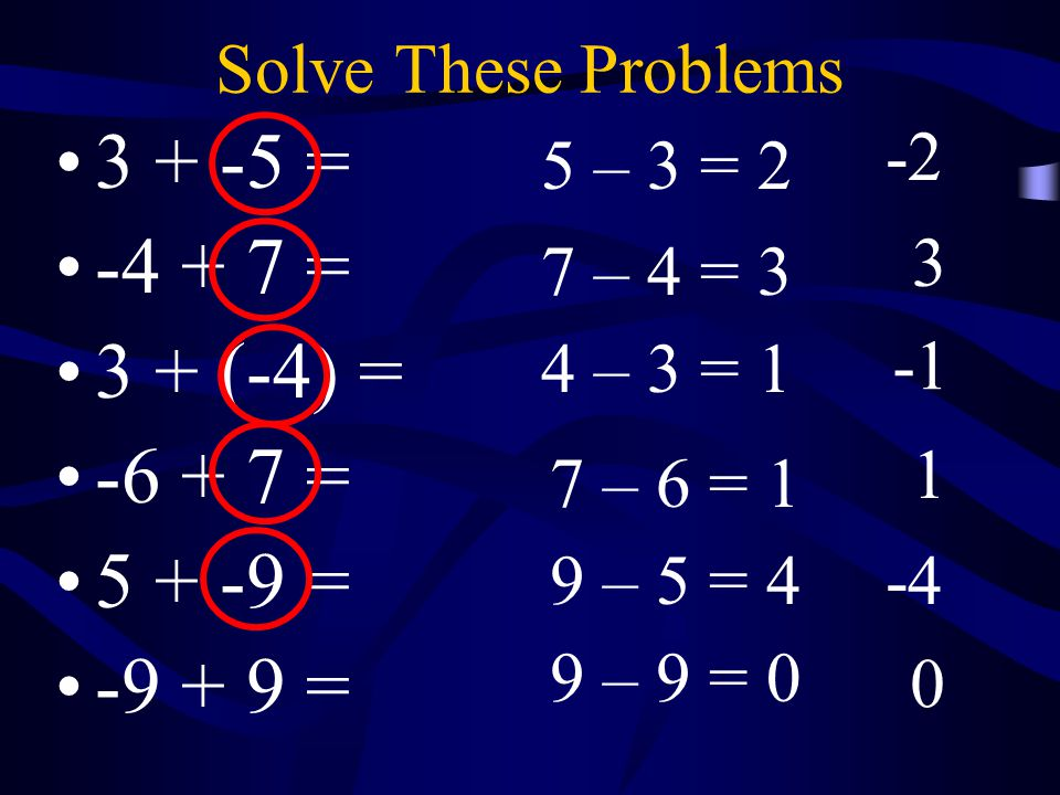 3 + -5 = -4 + 7 = 3 + (-4) = -6 + 7 = 5 + -9 = -9 + 9 =