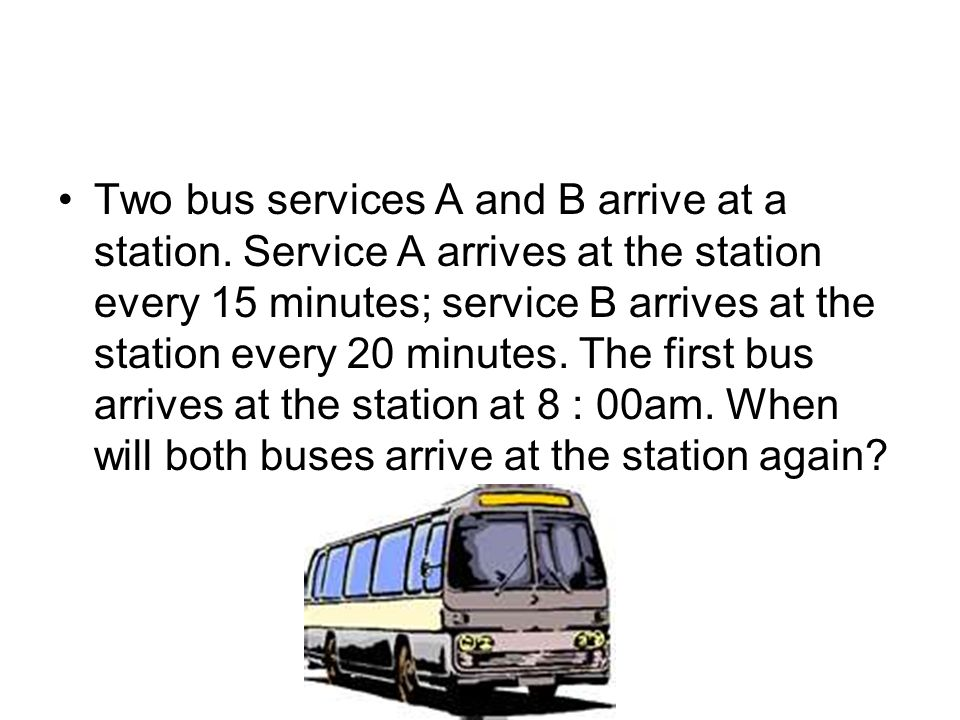 Two bus services A and B arrive at a station