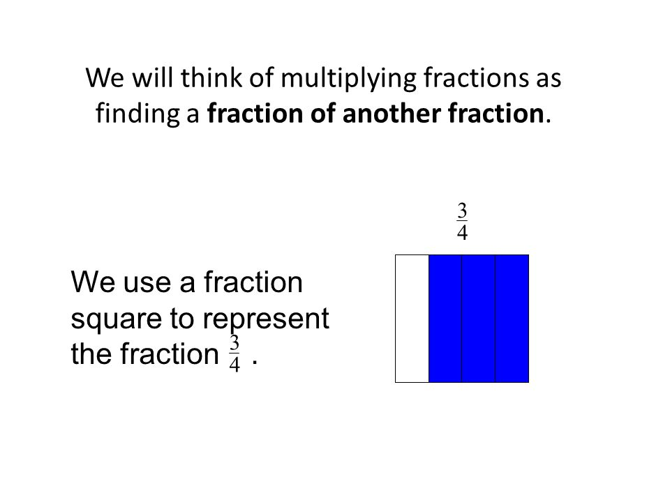 We use a fraction square to represent the fraction .