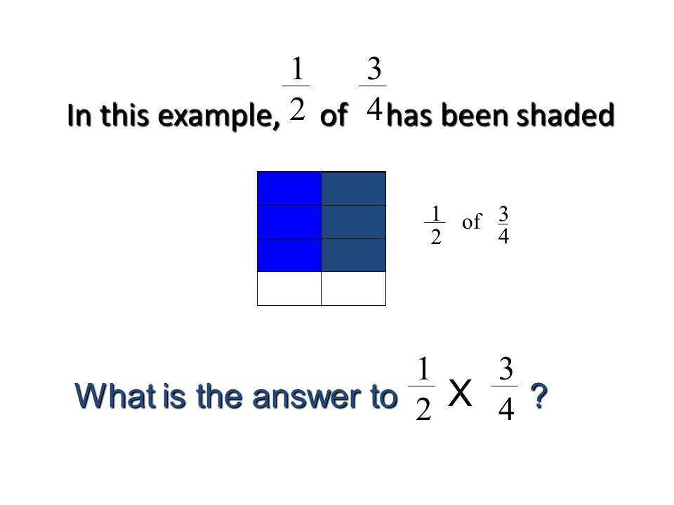 In this example, of has been shaded