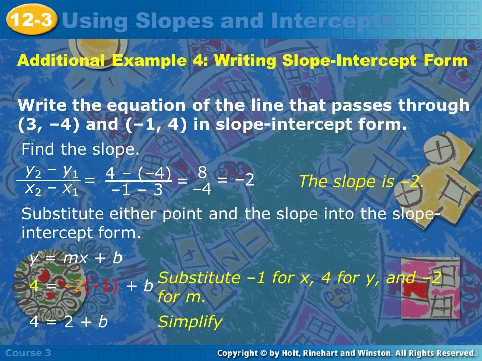 Additional Example 4: Writing Slope-Intercept Form