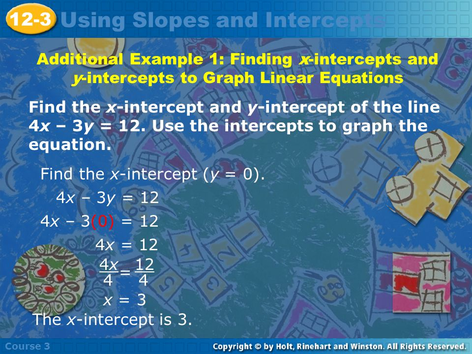 Using Slopes and Intercepts