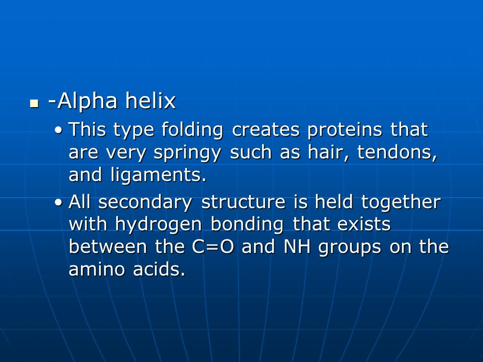 -Alpha helix This type folding creates proteins that are very springy such as hair, tendons, and ligaments.