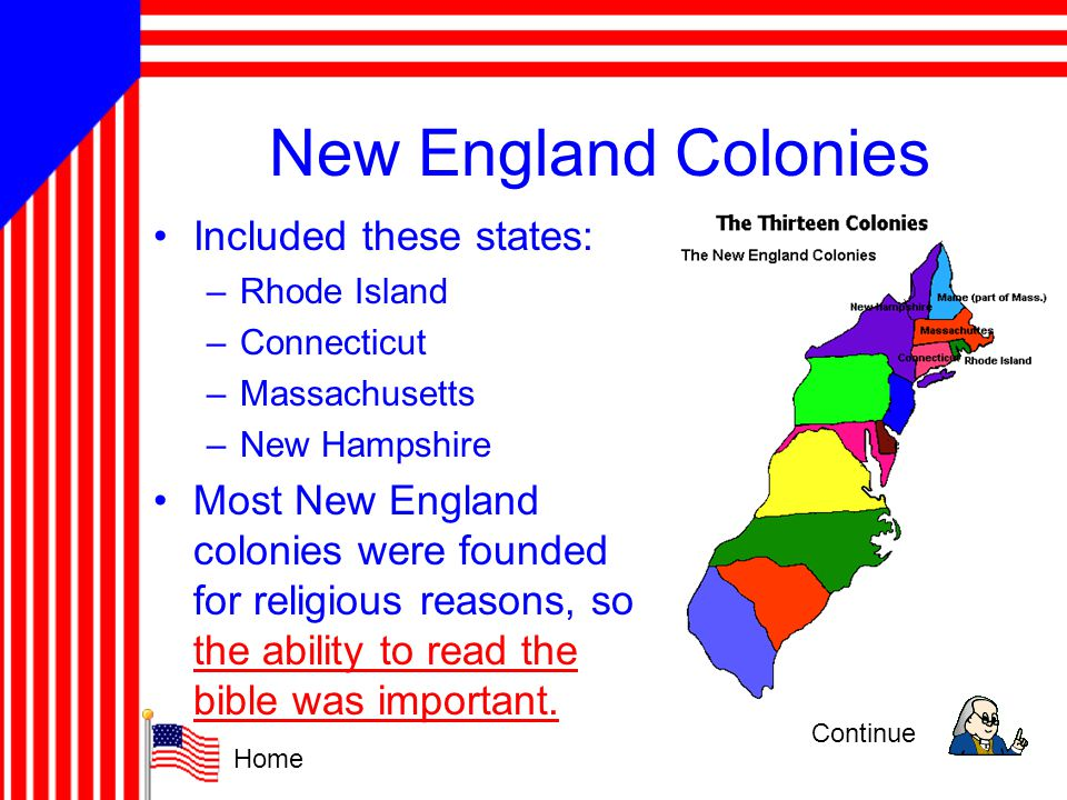 New England Colonies Included these states: