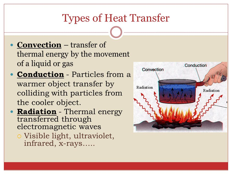 Types of Heat Transfer Convection – transfer of thermal energy by the movement of a liquid or gas.
