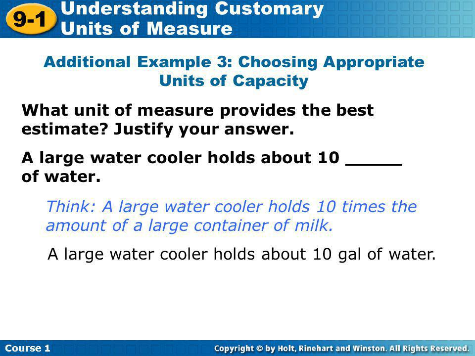 Additional Example 3: Choosing Appropriate Units of Capacity